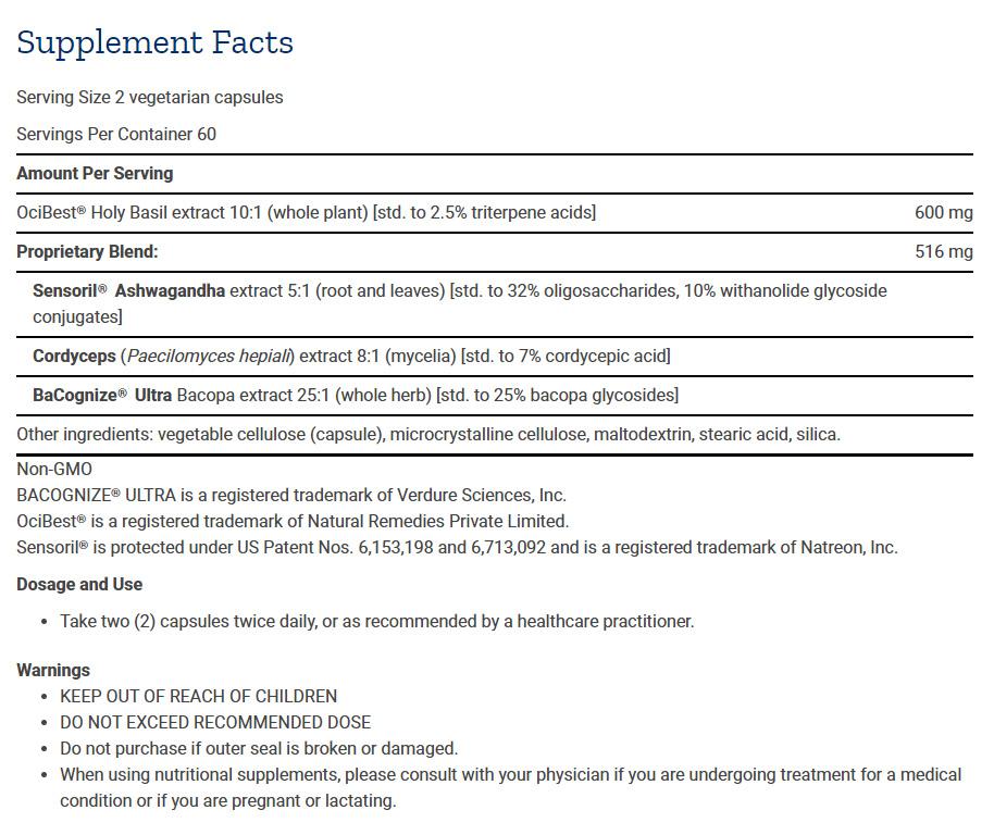 Tabela Nutricional Adrenal Energy Formula