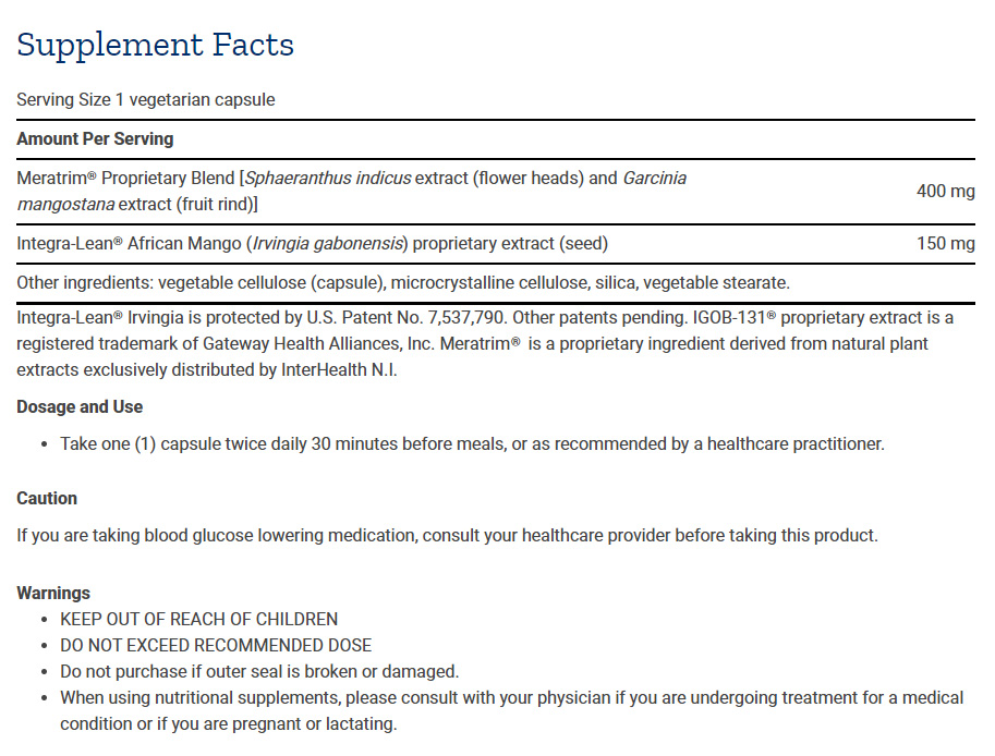 Tabela Nutricional Advanced Anti-Adipocyte