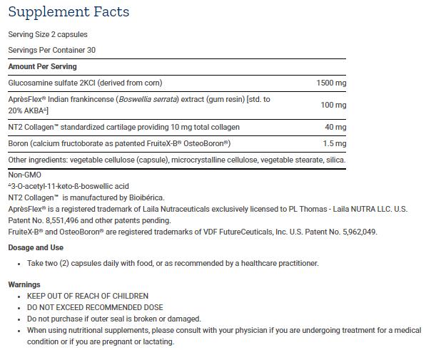 Tabela Nutricional ArthroMax® Advanced com NT2 Collagen ™ e AprèsFlex® - 60caps