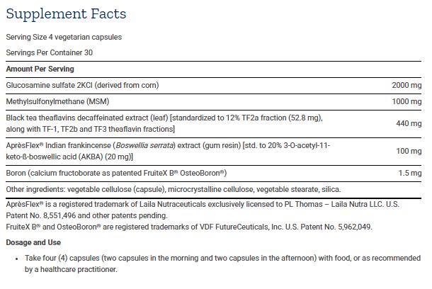 Tabela Nutricional ArthroMax® com Theaflavins e AprèsFlex®