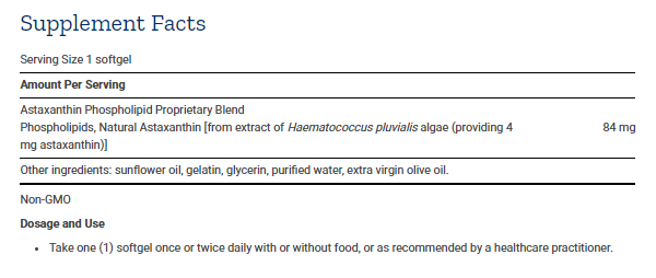 Tabela Nutricional Astaxanthin with Phospholipids - 30caps