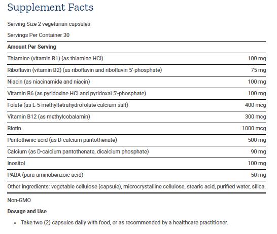 Tabela Nutricional BioActive Complete B-Complex 60caps