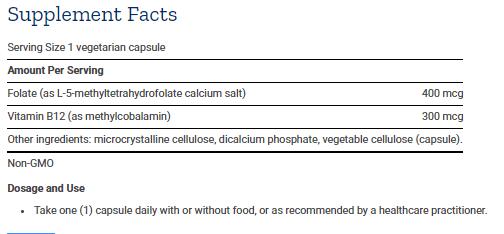 Tabela Nutricional BioActive Folate & Vitamin B12- 90caps