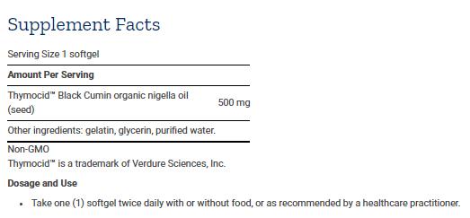 Tabela Nutricional Black Cumin Seed Oil - 60caps