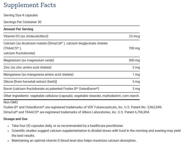 Tabela Nutricional Bone Restore - 120caps