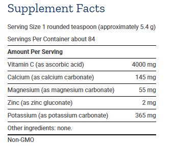 Tabela Nutricional Buffered Vitamin C Powder 454g