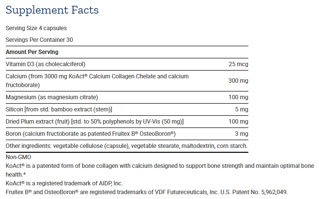 Tabela Nutricional Bone Strength Collagen Fórmula - 120caps