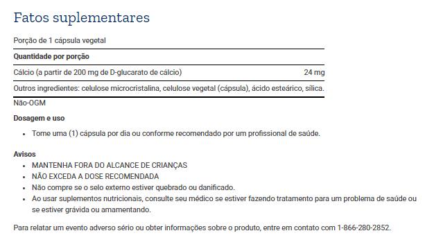 Tabela Nutricional Calcium D-Glucarate - 60 Cápsulas