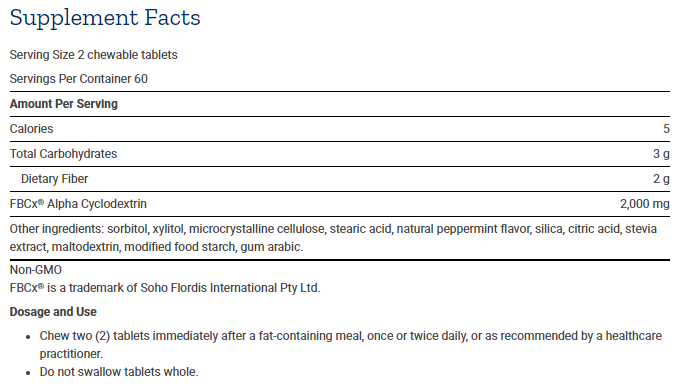 Tabela Nutricional CalReduce Selective Fat Binder