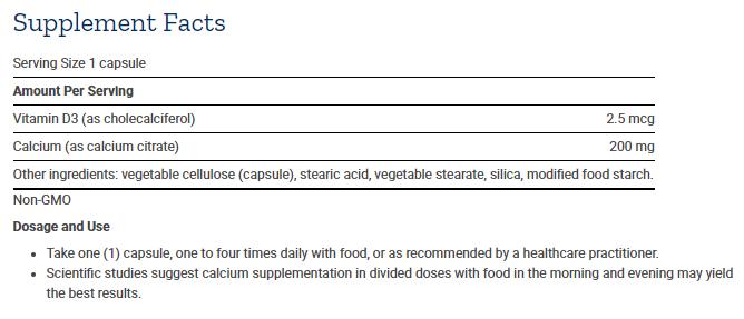 Tabela Nutricional Calcium Citrate with Vitamin D - 200caps