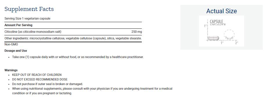Tabela Nutricional Citicoline (CDP-Choline) 60caps