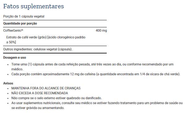 Tabela Nutricional CoffeeGenic® Green Coffee Extract