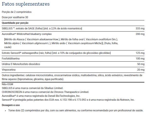 Tabela Nutricional Cognitex® Elite