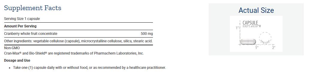 Tabela Nutricional Cran-Max®