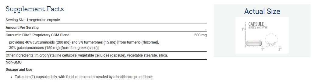 Tabela Nutricional Curcumin Elite™ Turmeric Extract