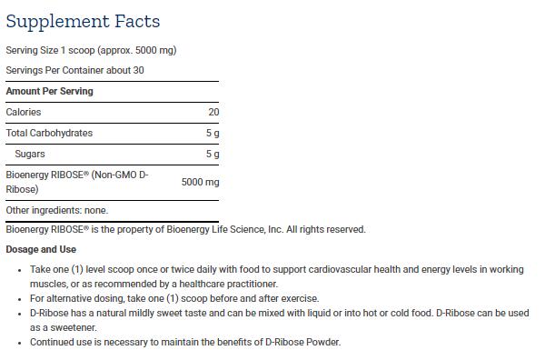 Tabela Nutricional D-Ribose Powder