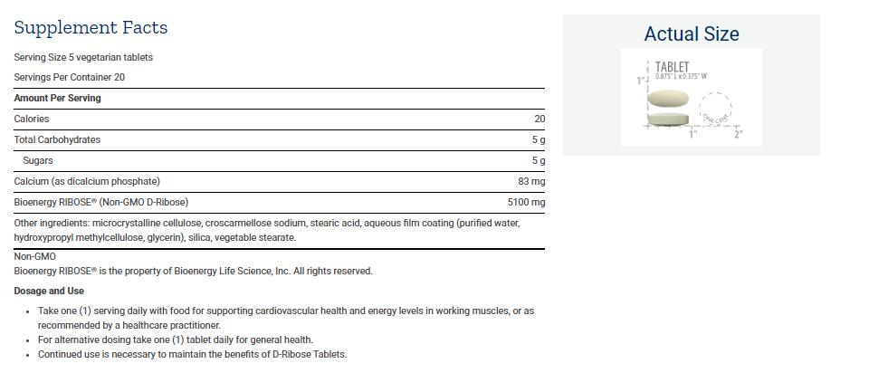 Tabela Nutricional D-Ribose Tablets