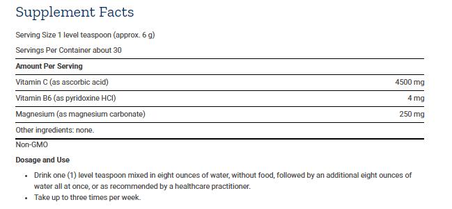 Tabela Nutricional Effervescent Vitamin C Magnesium Crystals