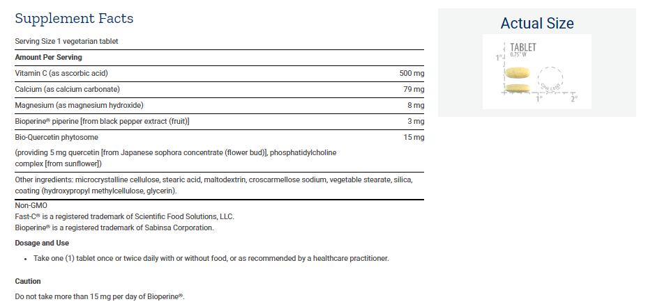 Tabela Nutricional Fast-C® and Bio-Quercetin Phytosome