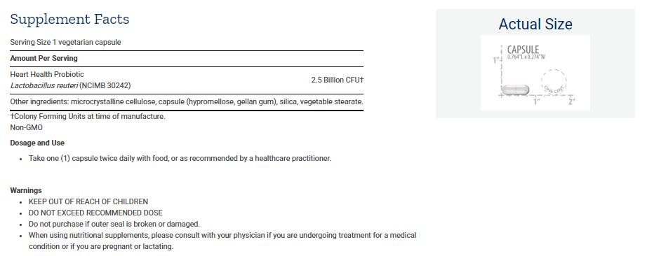 Tabela Nutricional FLORASSIST® Heart Health