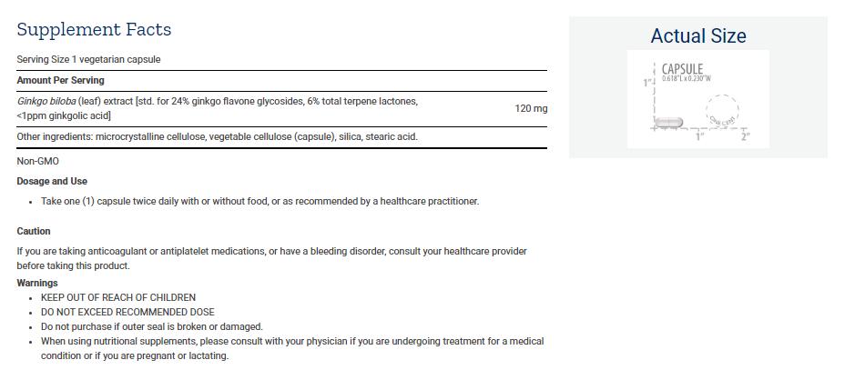 Tabela Nutricional Ginkgo Biloba Certified Extract™