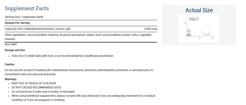 Tabela Nutricional High Potency Optimized Folate