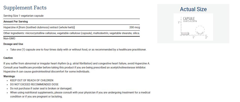 Tabela Nutricional Huperzine A