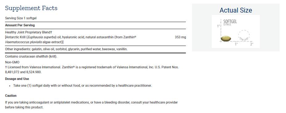 Tabela Nutricional Krill Healthy Joint Formula
