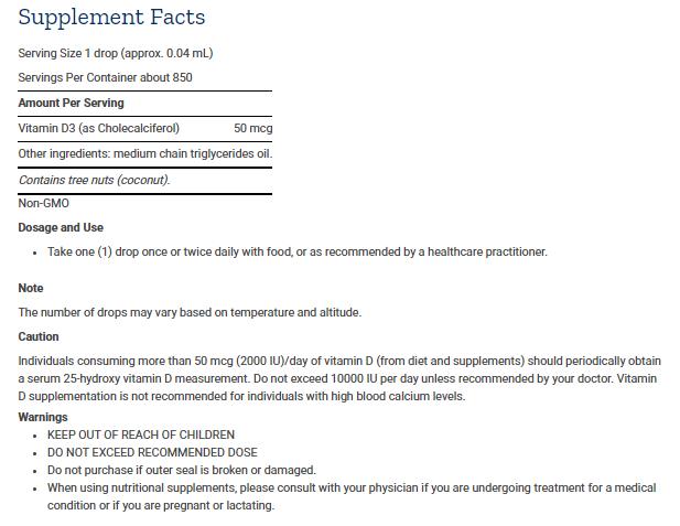 Tabela Nutricional Liquid Vitamin D3
