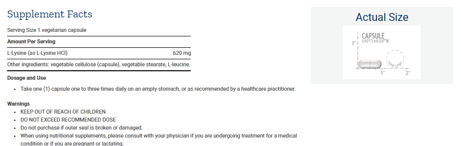 Tabela Nutricional L-Lysine