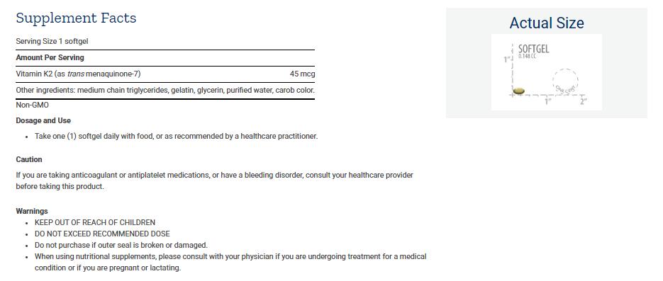 Tabela Nutricional Low Dose Vitamin K2