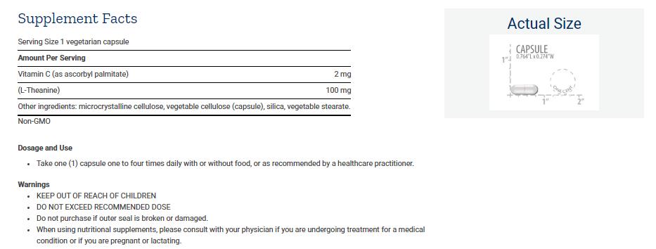 Tabela Nutricional L-Theanine