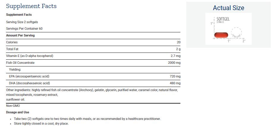 Tabela Nutricional Mega EPA/DHA