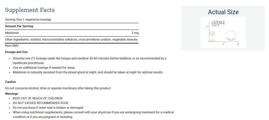 Tabela Nutricional Melatonin - 3 mg