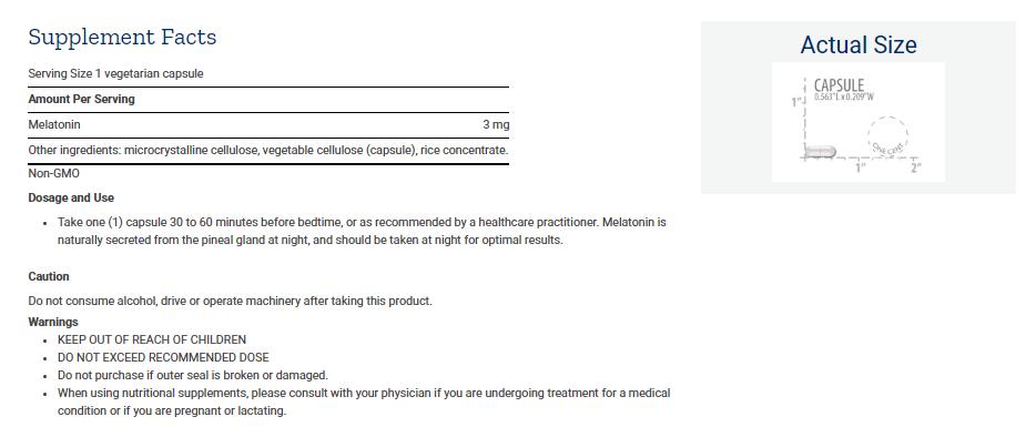 Tabela Nutricional Melatonin 3 mg Caps