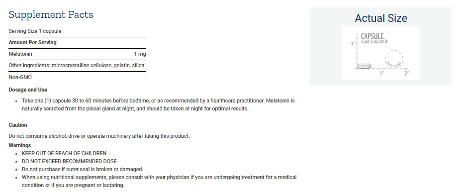 Tabela Nutricional Melatonin 1 mg