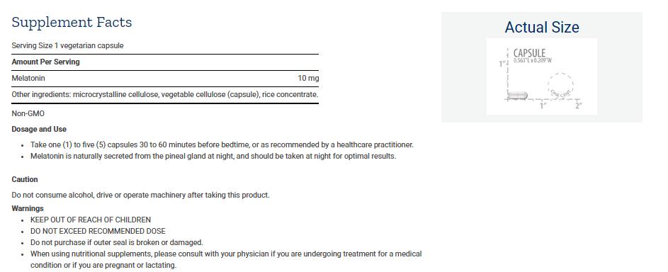 Tabela Nutricional Melatonin 10 mg
