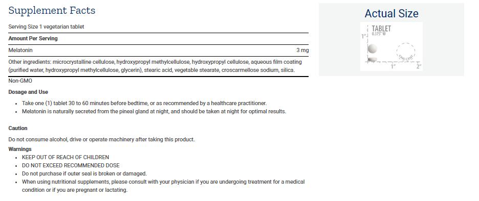 Tabela Nutricional Melatonin 6 Hour Timed Release 3 mg