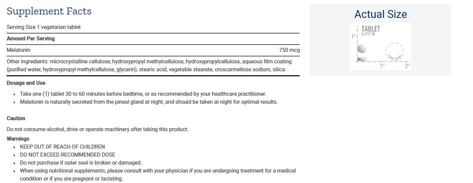 Tabela Nutricional Melatonin 6 Hour Timed Release 750 mcg