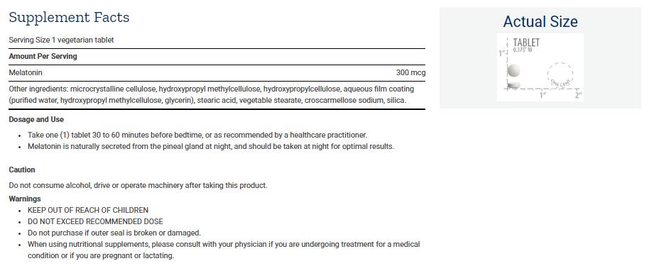 Tabela Nutricional Melatonin 6 Hour Timed Release 300 mcg