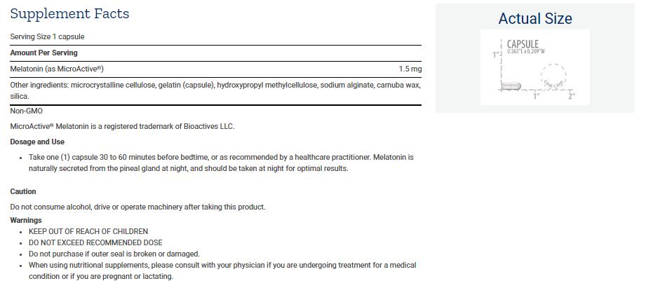 Tabela Nutricional Melatonin IR/XR