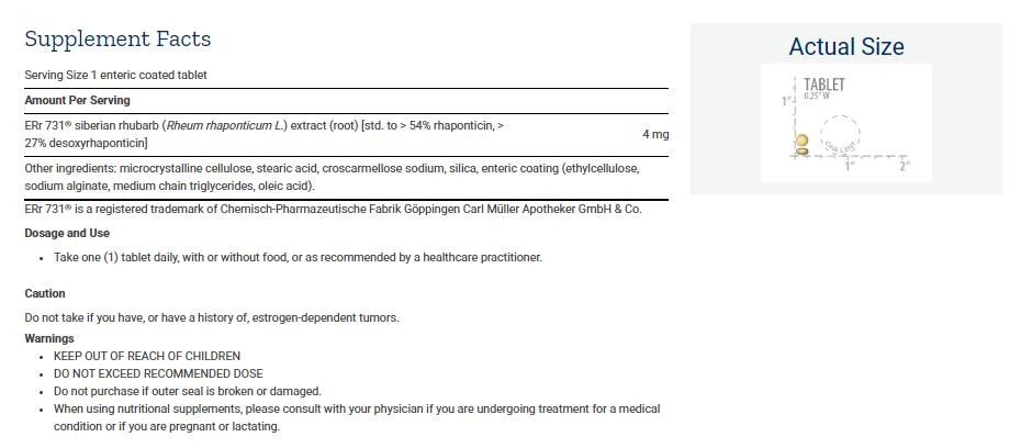 Tabela Nutricional Menopause 731™