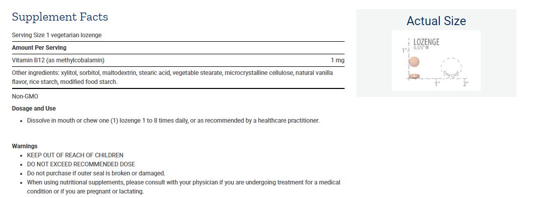 Tabela Nutricional Methylcobalamin 1 mg
