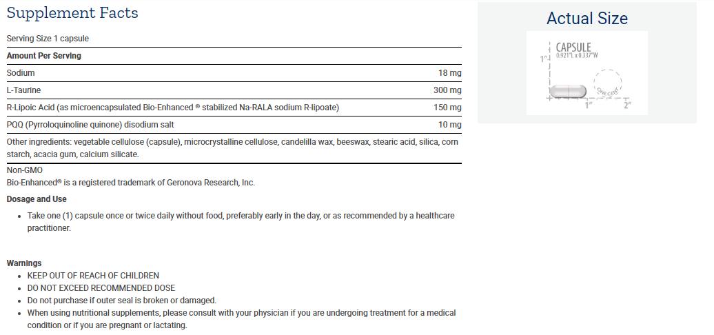 Tabela Nutricional Mitochondrial Basics with PQQ