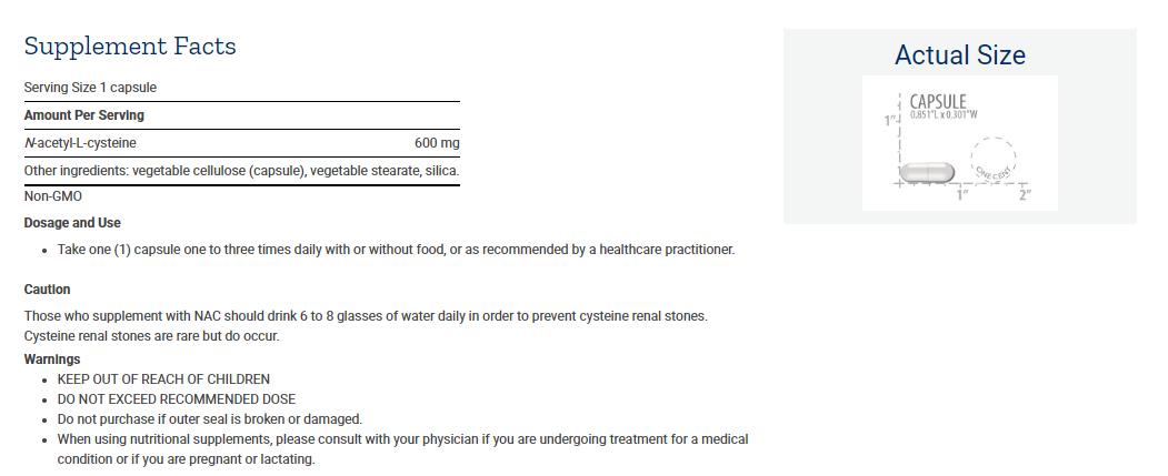 Tabela Nutricional N-Acetyl-L-Cysteine  600 mg