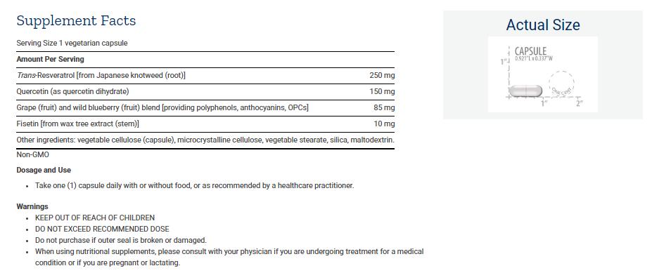 Tabela Nutricional Optimized Resveratrol
