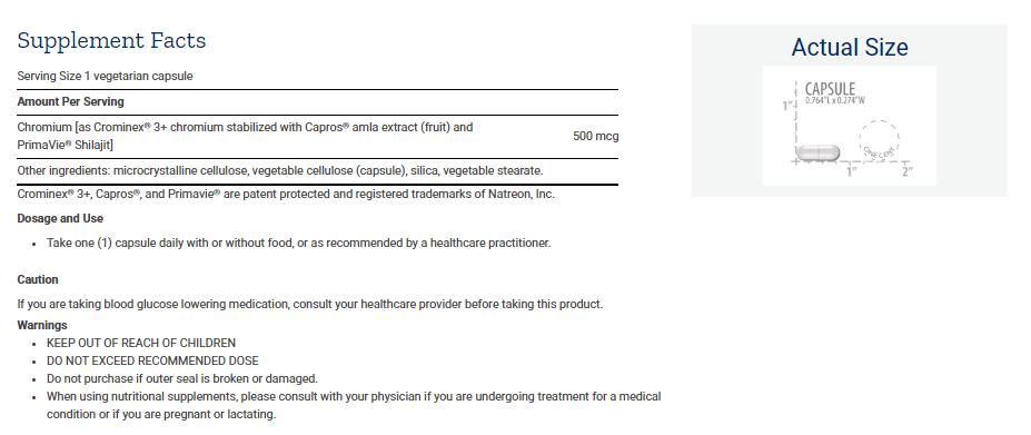 Tabela Nutricional Optimized Chromium with Crominex® 3+