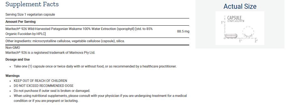 Tabela Nutricional Optimized Fucoidan with Maritech® 926