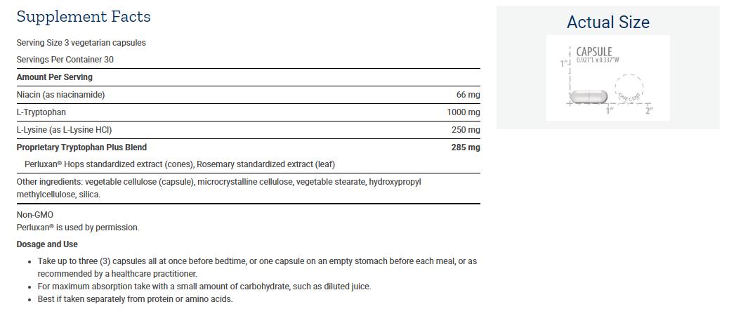 Tabela Nutricional Optimized Tryptophan Plus