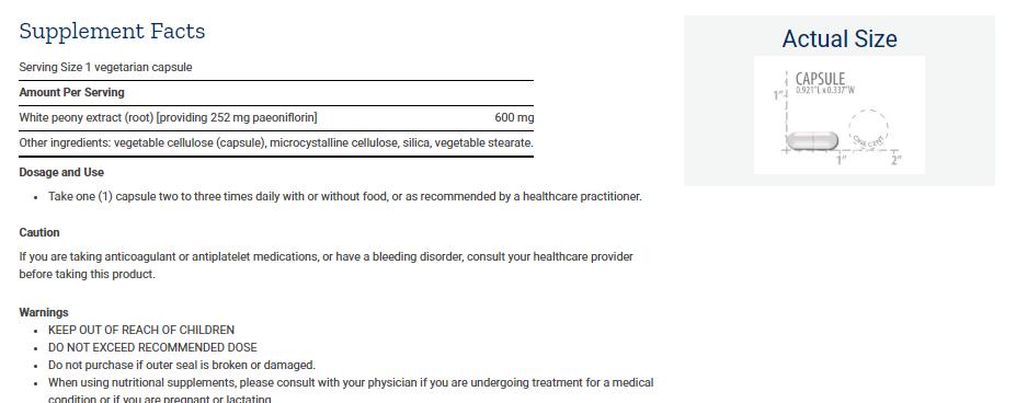 Tabela Nutricional Peony Immune
